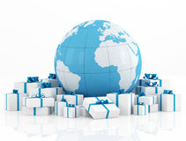 Earth globe and gift box Stock Photography