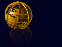 Earth globe of gold on blue mirrow Royalty Free Stock Image