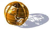 Earth globe of gold on  white Stock Photo