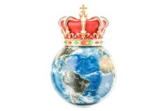 Earth Globe with golden crown, 3D rendering. On white background Stock Photography