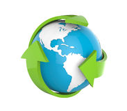 Earth Globe with Green Arrows. On white background. 3d render Stock Photo