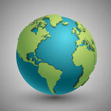 Earth globe with green continents. Modern 3d world map concept. Green planet with continent illustration stock illustration