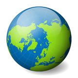 Earth globe with green world map and blue seas and oceans focused on Arctica with North Pole. With thin white meridians. And parallels. 3D glossy sphere vector Stock Photo