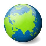Earth globe with green world map and blue seas and oceans focused on Asia. With thin white meridians and parallels. 3D. Glossy sphere vector illustration Stock Image