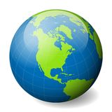 Earth globe with green world map and blue seas and oceans focused on North America. With thin white meridians and. Parallels. 3D glossy sphere vector Royalty Free Stock Images