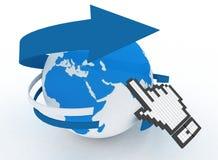 Earth globe and hand cursor Stock Photo