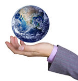 Earth globe in hand. Nature conservation concept Stock Photos
