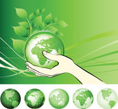 Earth globe in hands protected. Royalty Free Stock Photos