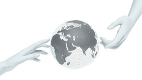 Earth globe and hands Stock Photos