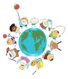 Earth globe of happy children Royalty Free Stock Image