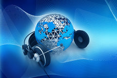 Earth globe with headphones royalty free illustration