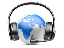 Earth globe with headphones and microphone Stock Images
