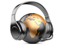 Earth globe with headphones and microphone Royalty Free Stock Photo
