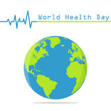 Earth globe with heartbeat in a flat design. World Health Day Stock Photography