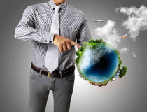 Earth globe in his hands Royalty Free Stock Photos
