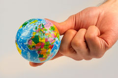 Earth globe in his hands Royalty Free Stock Photography