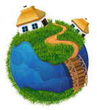 Earth globe with houses Royalty Free Stock Photos