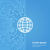 Earth Globe Icon Over Computer Chip Moterboard Background Banner Royalty Free Stock Photography