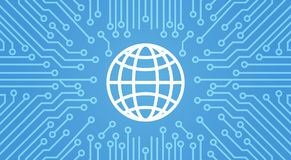 Earth Globe Icon Over Computer Chip Moterboard Background Banner Stock Photos