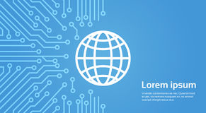 Earth Globe Icon Over Computer Chip Moterboard Background Banner Royalty Free Stock Images