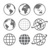 Earth globe Icon set. Set of nine simple Earth globe icons. Vector file is layered Stock Images