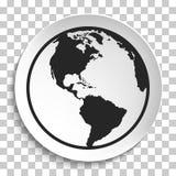 Earth Globe Icon on White Plate. Stock Photos