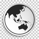 Earth Globe Icon on White Plate. Stock Images