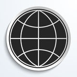 Earth Globe Icon on White Plate. Stock Image
