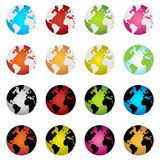 Earth globe icons. Set of sixteen colorful earth globe icons isolated on white background.EPS file available Stock Images
