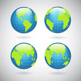 Earth globe icons set. With world map continents and oceans isolated vector illustration Stock Photography