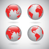 Earth globe icons set Stock Images
