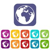 Earth globe icons set. Vector illustration in flat style in colors red, blue, green, and other Royalty Free Illustration