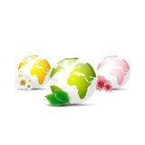 Earth globe icons set. On a white background Stock Photo