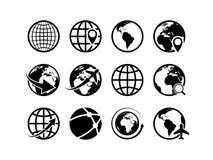 Earth globe icons. World map geography internet global commerce international tourism vector globe symbols royalty free illustration
