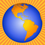 Earth globe illustration. Illustration of the earth in globe form, showing the section including North and South America against a yellow and orange striped royalty free illustration