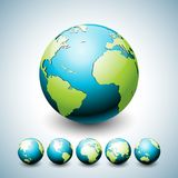 Earth Globe illustration with planet on six variations. World map icon or symbol design collection on environment. Concept. Vector design for banner, poster or Stock Photography