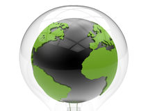 Earth globe innovation concept. 3D rendered illustration of an earth globe positioned inside a bulb. The composition is isolated on a white background with no Stock Photos