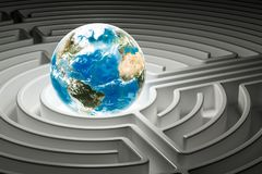 Earth Globe inside labyrinth maze, 3D. Rendering Royalty Free Stock Photo