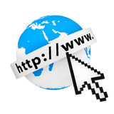 Earth Globe with Internet Address Text and Pixel Cursor. 3d Rend. Earth Globe with Internet Address Text and Pixel Cursor on a white background. 3d Rendering Stock Images