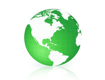Earth Globe Isolated green. Clean Green and white world globe illustration Stock Photography