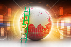 Earth globe and ladder. In color background Royalty Free Stock Image