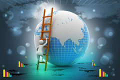 Earth globe and ladder. In color background Stock Photo