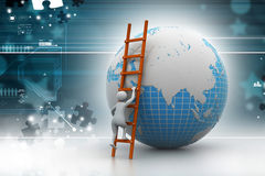 Earth globe and ladder. In color background Royalty Free Stock Photography