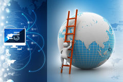 Earth globe and ladder. In color background Royalty Free Stock Photo
