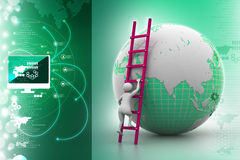 Earth globe and ladder. In color background Stock Photos