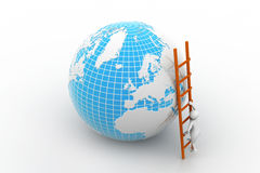 Earth globe and ladder Stock Images