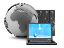 Earth globe, laptop and large sound system Royalty Free Stock Photography