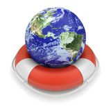 Earth globe in lifebuoy Stock Image