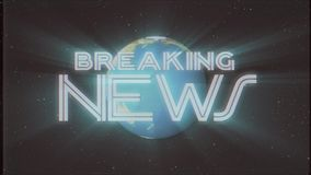 Shiny retro BREAKING NEWS text with earth globe light rays moving old vhs tape retro intro effect tv screen animation. Earth globe light rays moving on old vhs stock video footage