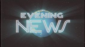 Shiny retro EVENING NEWS text with earth globe light rays moving old vhs tape retro intro effect tv screen animation. Earth globe light rays moving on old vhs stock footage